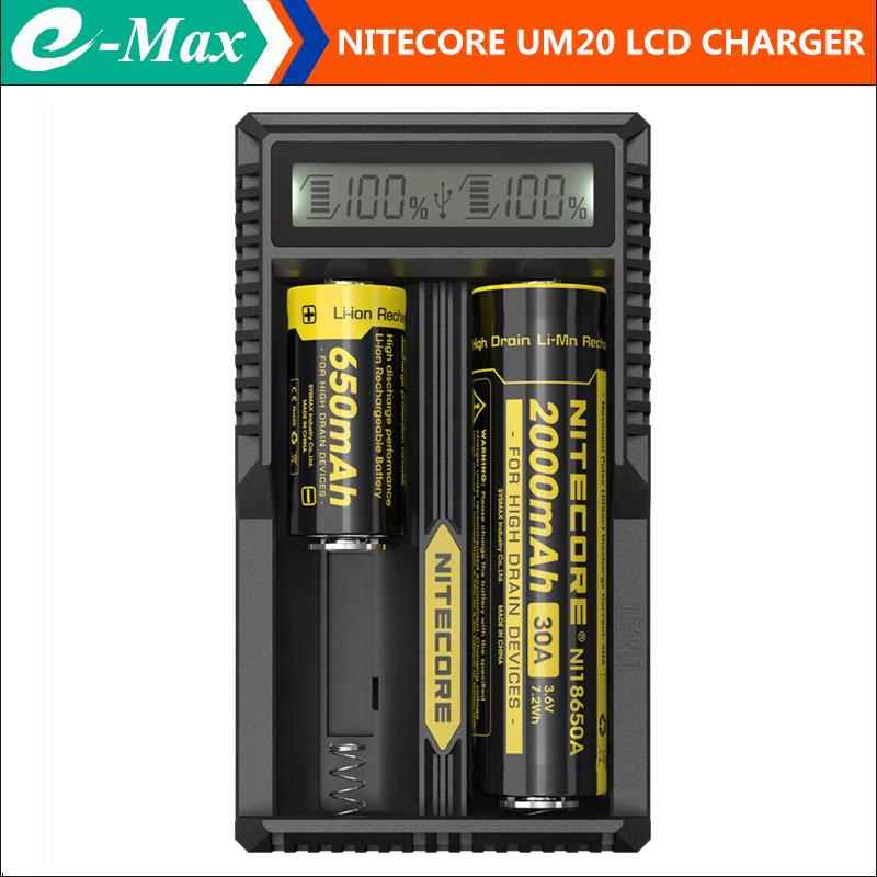 Nitecore UM20 Intelligent LCD USB Powered Li-ion / IMR Battery Charger NITECORE Universal LCD Battery Charger with USB Cable(China (Mainland))