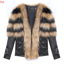 2016 Women Winter Fashion Faux Fur Synthetic Leather Patchwork Long Sleeve Slim Jacket Women Fur Coat Fur Top SV029339(China (Mainland))