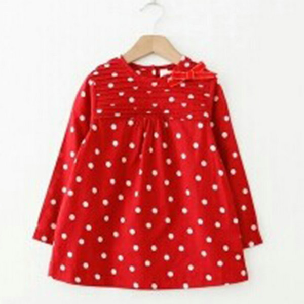 2016 New Fashion Toddler Baby Girls Polka Dots Bowknot Long Sleeve One-piece Dress Shirt 2-7T(China (Mainland))