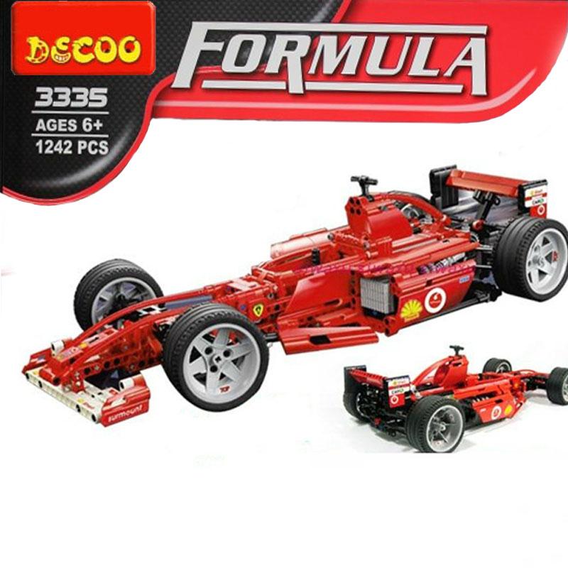 Super Large 24 inch Building Blocks 1242 Pcs Decool 1: 8 Famous Racing Car Scale Models / Compatible with lego Model building