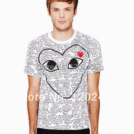 HOT SALE TOP QUALITY NEW COMME Des GARCONS CDG PLAY RED HEART MEN'S SHORT SLEEVE WHITE T- SHIRT FREE SHIP(China (Mainland))