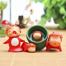 4pcs/set Cute Miyazaki's Anime Ponyo on the Cliff Ponyo Resin Action Figure Garden Ornaments Ponyo Figures Best Gift