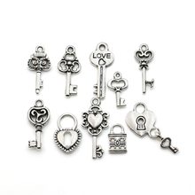 Buy Mixed Tibetan Silver Plated Key Lock Love Charm Pendants Bracelet Necklace Jewelry Diy Jewelry Making Handmade 10pcs for $1.23 in AliExpress store