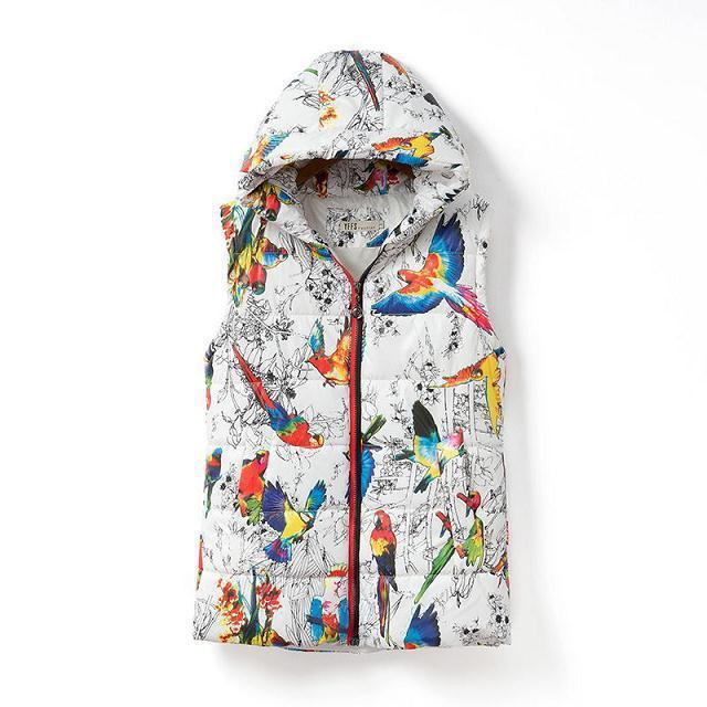 Genuine ladies vest jacket 2015 Winter Women Flower print cotton vest short Slim Down Hooded Vest fashion women Outerwear  Coats