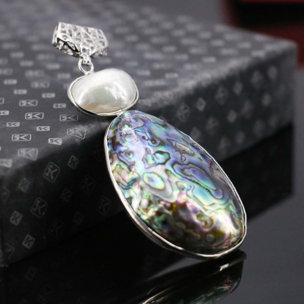 L002 New marine natural color shell abalone shell white pearl pendant,Necklace for female fashion wholesale DIY free shipping(China (Mainland))