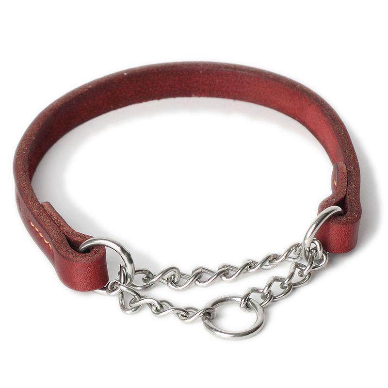 Chain martingale dog collar - round half-check leather collar training show, leather dog collar, stainless chain pet collar(China (Mainland))