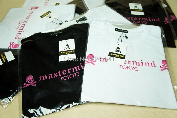 New arrival shining pink skull TOKYO printed cool mastmind brand short sleeve T shirt loose tees(China (Mainland))