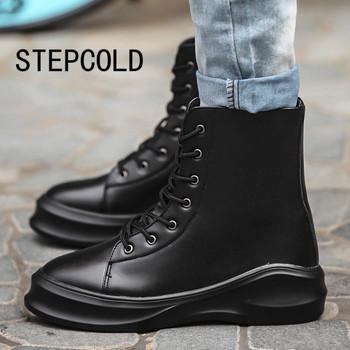 Кожаные сапоги зима 2015 для мужской кожаные сапоги англии стиль мода высокое качество ботильоны свободного покроя мужской обуви