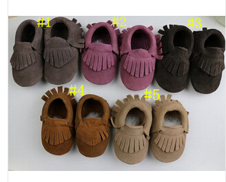 300pairs 5colors New suede baby shoes Genuine cow leather fringe baby moccasin soft sole baby shoes for boys girls wholesale <br><br>Aliexpress