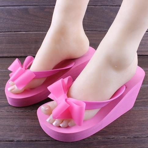 Summer fashion womens bow high-heeled sandals flip flops flip slippers beach slippers<br><br>Aliexpress
