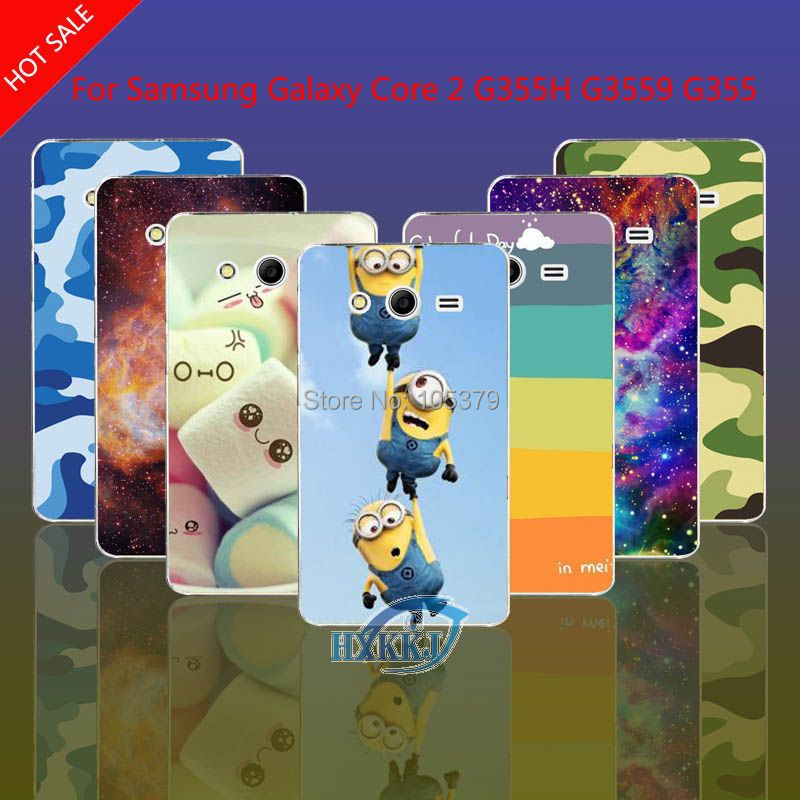 For Samsung Galaxy Core 2 G355H G3559 G3556D G355 Case Leopard Skull Cat Lotus Flower Rainbow Hard Cell Phone Case(China (Mainland))