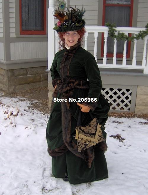 1800s Victorian Winter Dress 1880s Green Velvet Fur Trim Bustle Gown-Christmas Caroling Charles Dickens Ice Skating Costume(China (Mainland))