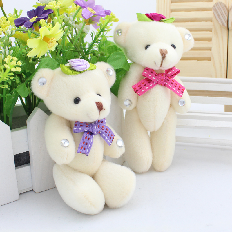 12PCS/lot 12CM White Jointed Mini Teddy Bear Kawaii Small Teddy Bear for Cartoon Bouquet Toy Wedding Gifts free shipping(China (Mainland))