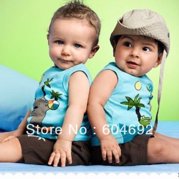 0-3Y Summer Lovely Baby Boy Cotton Sleeveless Top T-shirt+Short Pants 2 Pcs Set