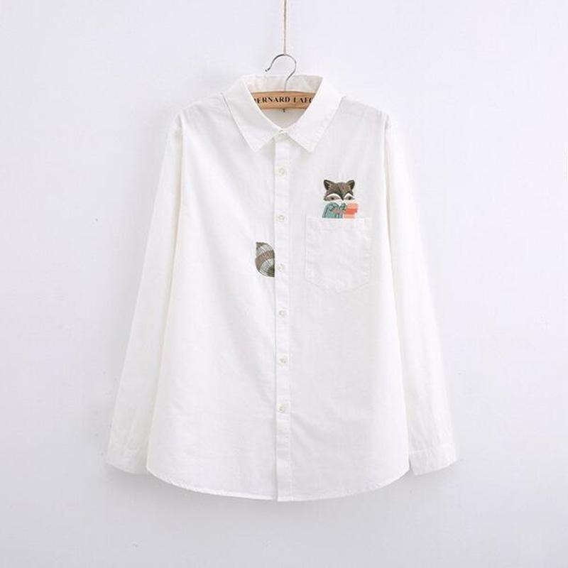 G022 весна и Осень винтаж твердые хлопок Белая блузка с длинным рукавом Симпатичные Фокс Вышивка Женщины Рубашки повседневные Топы Blusas