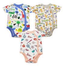 3 шт./партия, 100% хлопковые комбинезоны для детей, летняя одежда для маленьких мальчиков, боди для новорожденных, комбинезон для младенцев, ко...(China)
