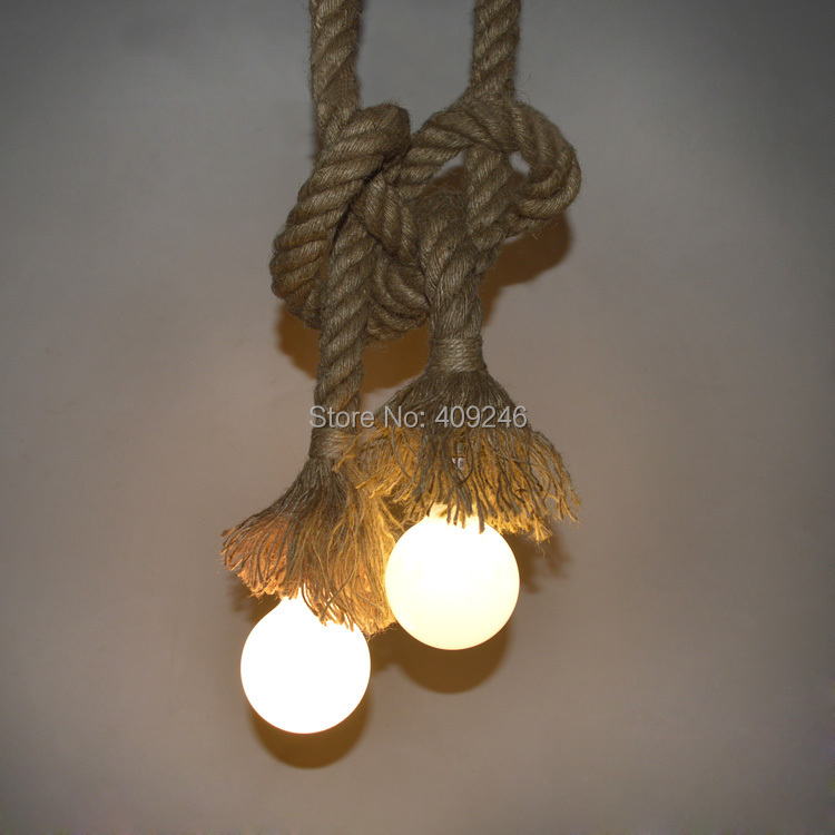 2015 New Diy Hemp Rope Pendant Light Ceiling Hanging Lamps
