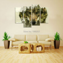 4 Pieces Wolf Canvas Paintings Wall Art Picture Wolf Pine Trees Forest Animal Print On Canvas with Wooden Framed for Home Decor(China (Mainland))