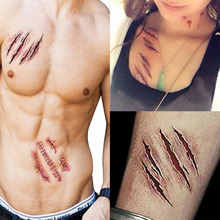 2 pcs Halloween Temporary Tattoo Sticker Zombie Scars Tattoos With Fake Terror Wound Scary Blood Injury Makeup(China (Mainland))