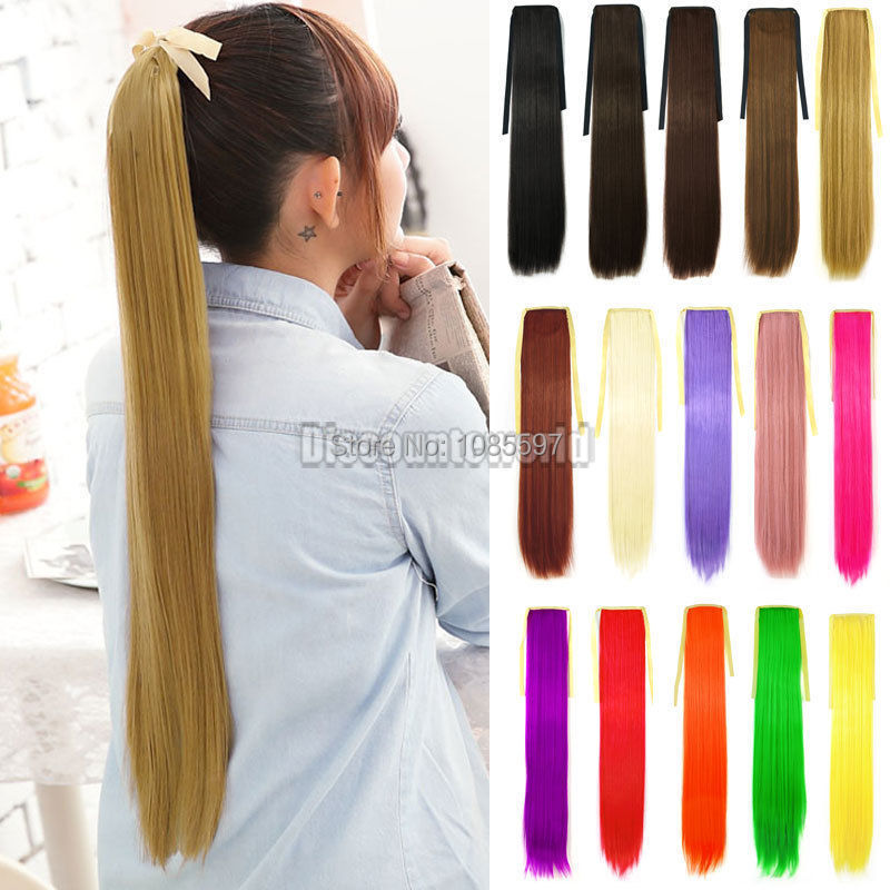 2015 New Girls Synthetic Cosplay Ponytail Long Straight Clip Hair Extensions Hairpiece (fx230) Free Shipping(China (Mainland))
