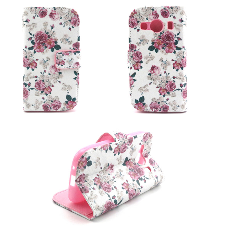 Flower Flip PU Leather Case For Samsung Galaxy Ace 4 Style LTE G357 Case Leather Stand Phone Back Cases Wallet Card Holder(China (Mainland))