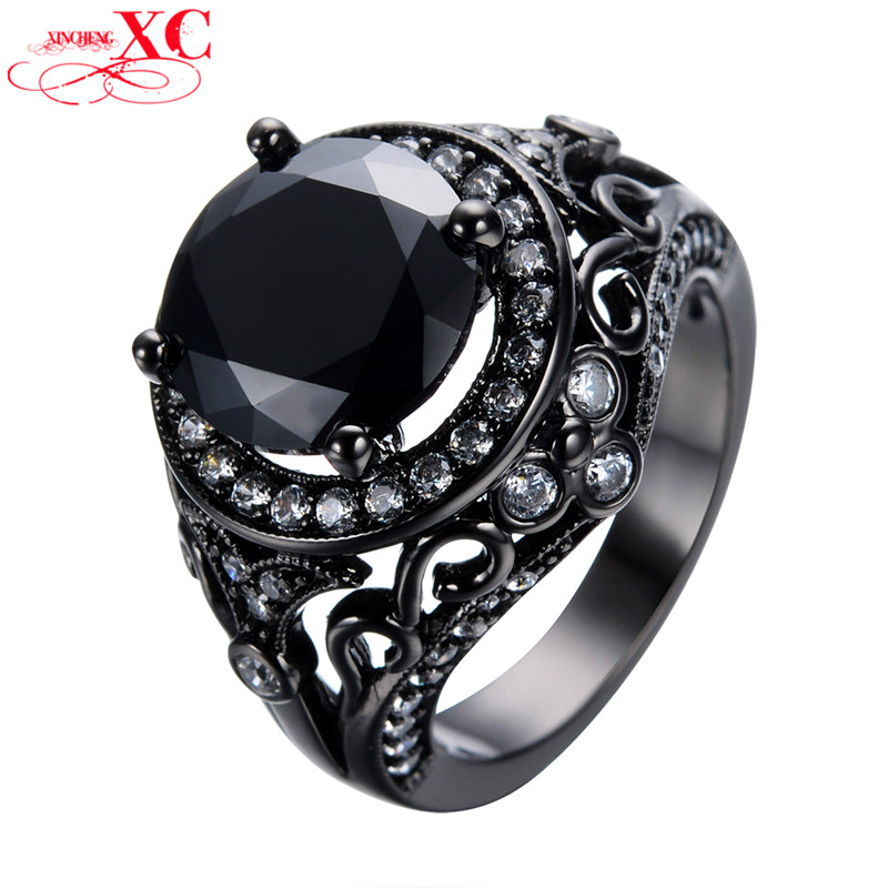 Round Hollow+White Zircon Size 5/6/7/8/9/10 Women Fashion Jewelry 14KT Black Gold Filled Finger Rings Engagement Ring RB0168<br><br>Aliexpress