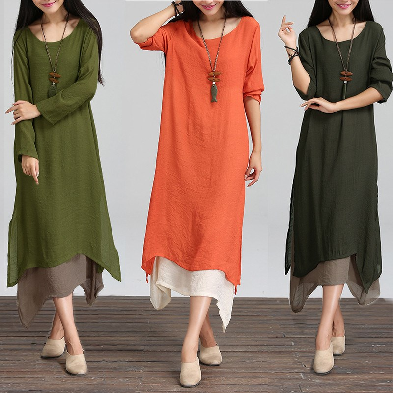 Fashion Autumn 2017 Women Dress Cotton Linen O Neck Long Sleeve Casual  Loose Boho Long Maxi Dresses Vestidos Plus Size L 2XL Yellow T Shirt Dress  Dress For ... 0ef3d9e66086