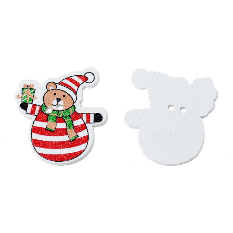 Red Stripe Christmas Bear 2 Holes Wooden Sewing Buttons Random Mixed 3.1x2.9cm 50PCs Scrapbooking Supplies For Craft(China (Mainland))
