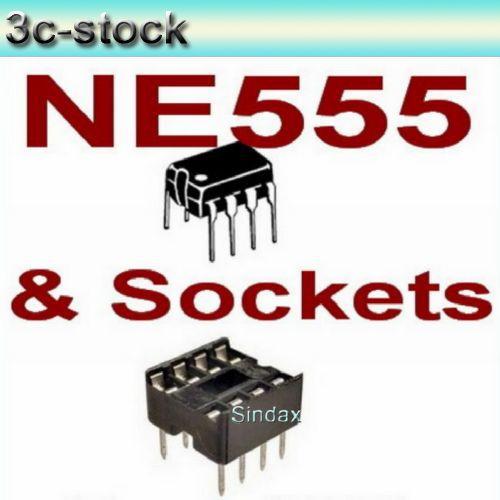 100pcs New NE555 NE555P NE555N 555 Timers DIP-8 TEXAS and 100pcs 8 Pin DIP Sockets,Drop shipping(China (Mainland))