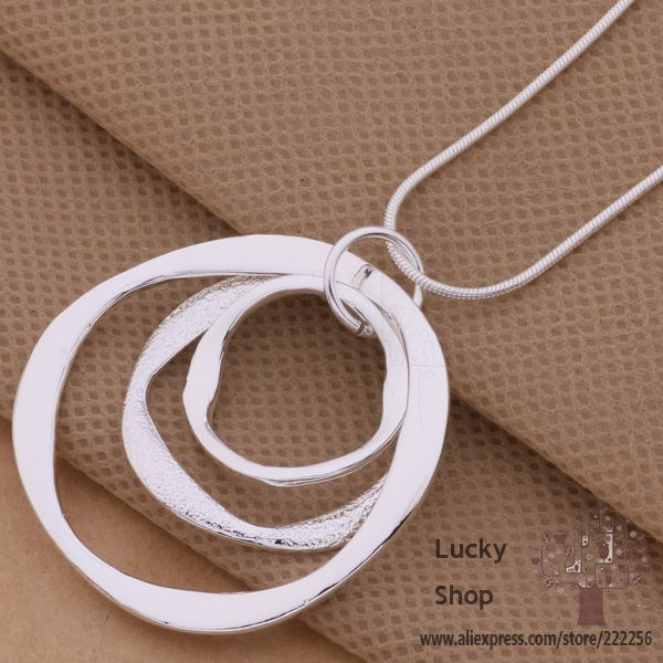 product LK-AN200 925 sterling silver Necklace 925 silver fashion jewelry pendant Article 3 the circular strip /bciajtpa dobamfia