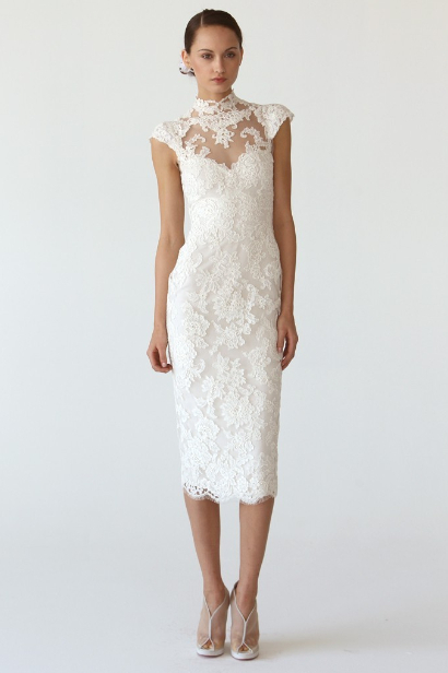 New arrival elegant white lace tea length informal wedding for Simple elegant short wedding dresses