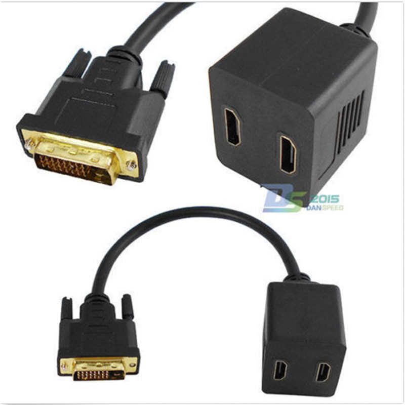 Top Quality DVI-D 24+1pin Male to 2 HDMI Female Monitor Display Splitter Video Cable Adapter(China (Mainland))