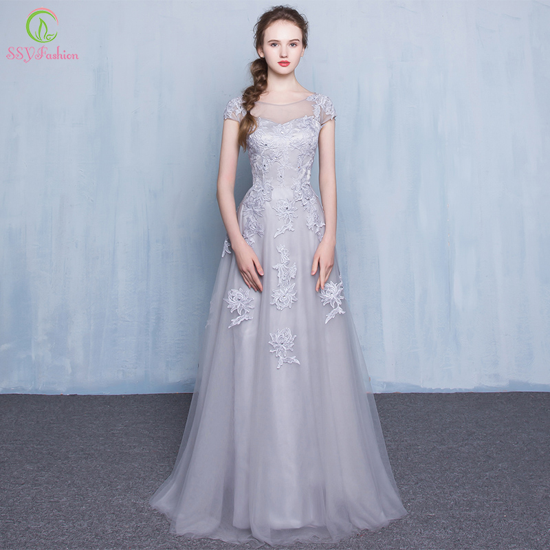 Fashion grey lace evening dress 2016 bridal banquet for Gray lace wedding dress