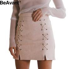 BeAvant Winter 2016 cross high waist skirt Autumn lace up leather suede pencil skirt Zipper split bodycon short skirts womens