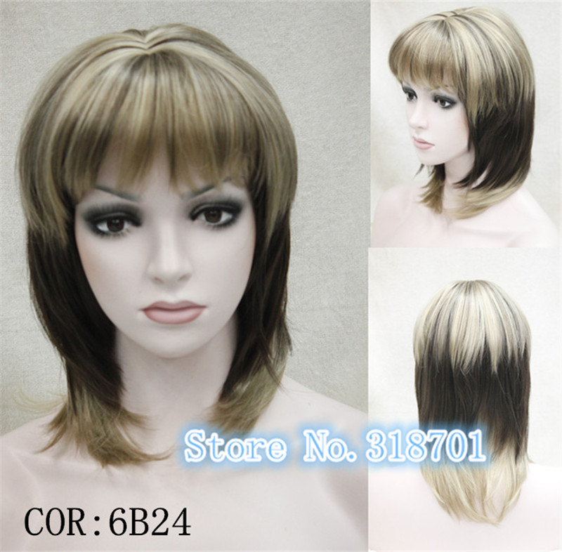 Medium Blonde with Brown SKIN TOP WIG Straight Ombre wig free shipping<br><br>Aliexpress