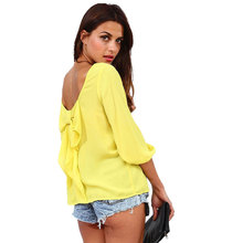 Top Selling Women's Clothing 2015 Summer Style Long Sleeve Vetement Femme Camisa Mujer Chiffon Women Blouse Bow Back Shirt(China (Mainland))
