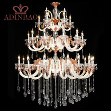 Luxury large 3 tiers crystal chandelier pearl white color chandelier XW8310-15+10+5(China (Mainland))