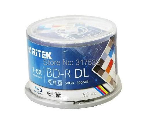 free shipping Ritek BD-R 50GB blue ray Disc inkjet Printable 6X 50pack