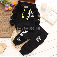 Free shipping 2015 new Spring Baby cotton long sleeved tracksuit two piece Children Sets Novelty Hooded