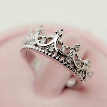 Free Shipping Silver Plate Crystal Rhinestone Crown Lady Wedding Engagement Ring