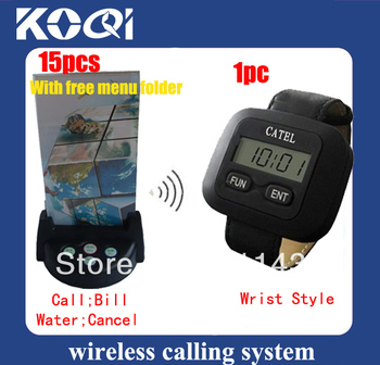 Nice apperance wireless paging system ;1 wrist receiver + 15 4key buttons , Key name Could be definited according to your demand