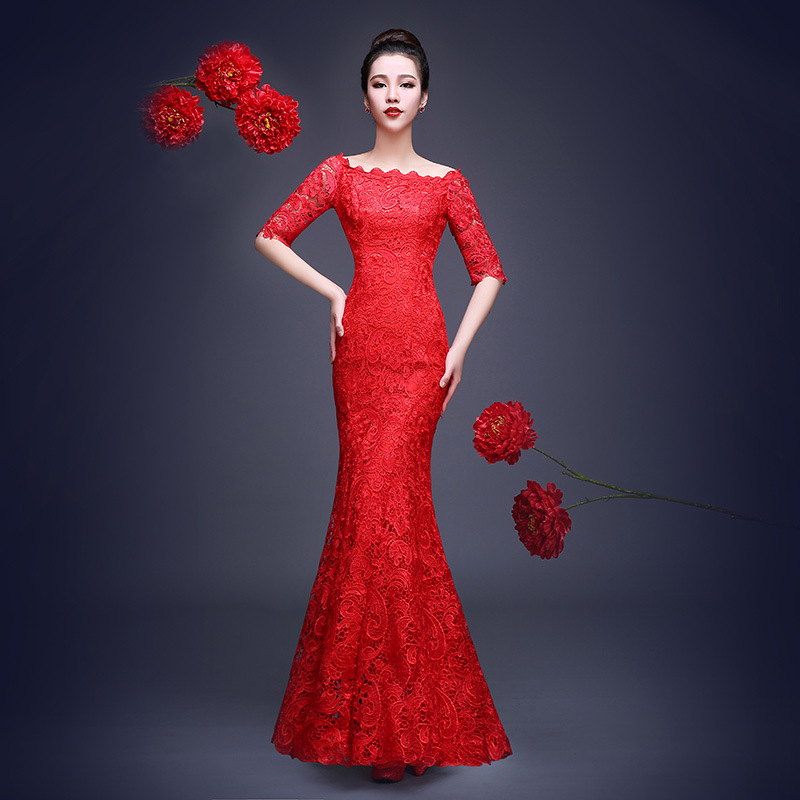 Lace Evening Dress 2016 Long Sequins Bride Mother Unique Dress Mermaid Red Purple Fishtail Formal Party Gowns Women Luxury BK16(China (Mainland))
