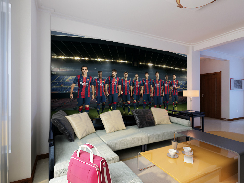 Eco friendly 3d huge mural huge famous football team for Mural vision tv