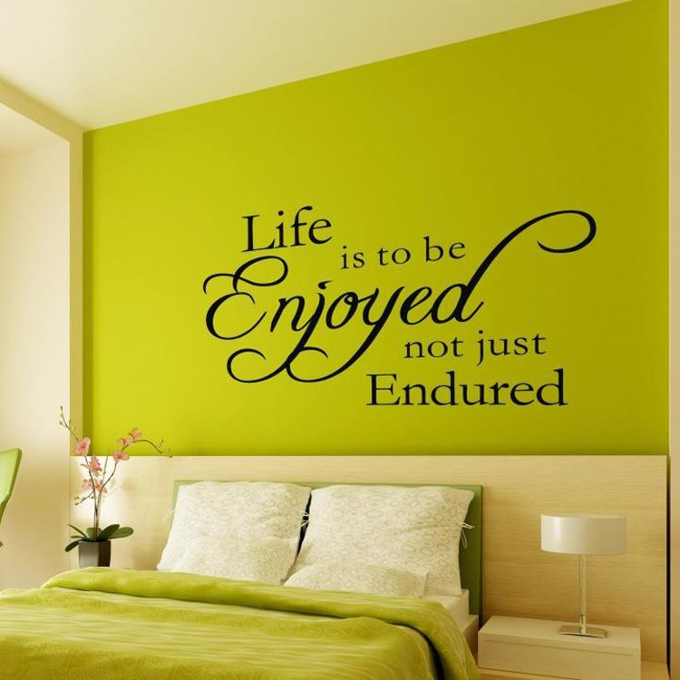 Just enjoy life removable fine quality vinyl black wall for Living room decor quotes