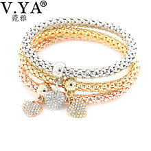 Buy 3pcs/lot Heart Charm Bracelets Bangle Women Girl Crystal Jewelry Elastic Bracelets 3 Colors Cute Multilayer Pulseira Masculina for $1.89 in AliExpress store