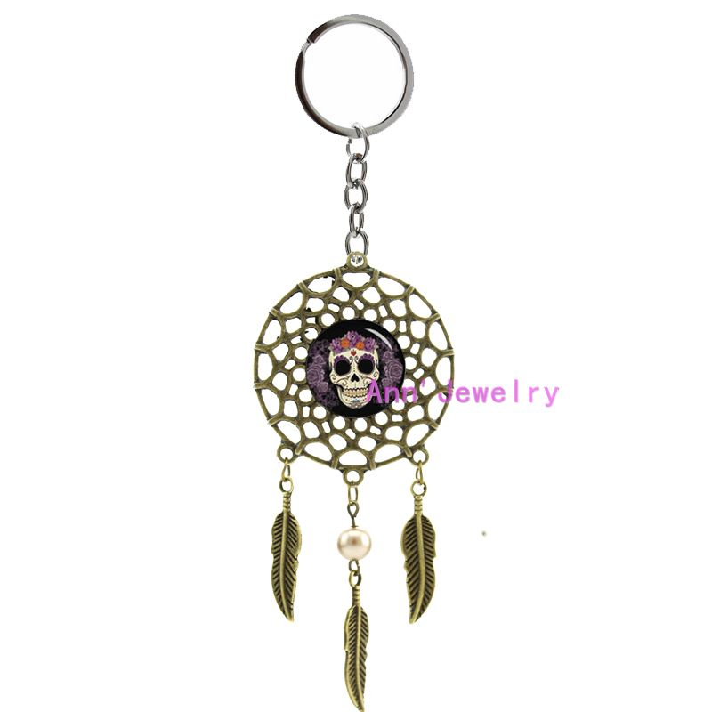 811Sugar skull Key chain Day of the Dead Skull dream catcher Men Silver plated feather Custom Image indian Gift for Father's Day(China (Mainland))