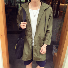 New 2016 autumn japan style casual thin jacket men loose type long trench coat men with hooded men's clothing size m-5xl /FY4-1(China (Mainland))