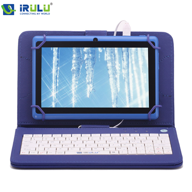 IRULU eXpro Brand Dark Blue Android4.4 Tablet PC External 3G/WIFI 7inch 1024*600 HD AllwinnerA33 Quad Core 16GB White Keyboard