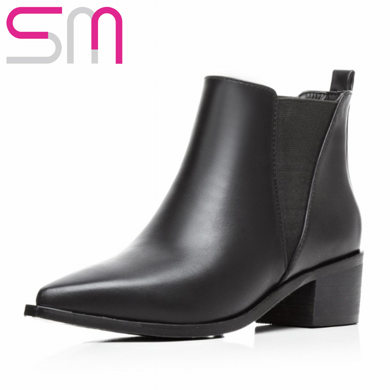 Women Boots Pointed toe Slip on Ankle Boots Lady's Chunky Heels Shoes Woman Winter Spring Boots Women's Shoes Zapatos Mujer