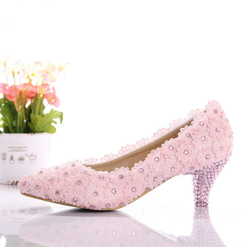 pink lace shoes lace wedding shoes low heel